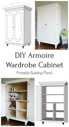 DIY Armoire Wardrobe Cabinet - Spruc*d Market Diy Storage Cabinets, Modular Cabinets, Diy Furniture Building, Diy Pallet Furniture, House Furniture, Furniture Projects, Wood Projects, Woodworking Projects, Diy Wardrobe