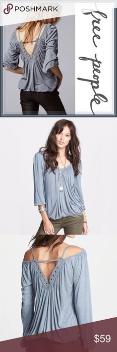 Free People Adelia Cold Shoulder Top ➖BRAND: Free People  ➖SIZE: Medium  ➖STYLE: Adelia top in steel blue (has a slight green tint too)  vneck / v-neck top with long sleeves with a open V back too. Cold Shoulder blouse.   ❌NO TRADE 223401 # off shoulder ruffle Free People Tops Tees - Long Sleeve