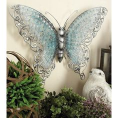 Copper Grove Iris Blue Metal Butterfly - On Sale - Overstock - 21180985 3d Wall Decor, Butterfly Wall Decor, Flower Wall Decor, Metal Wall Decor, Floor Decal, Outdoor Statues, Country Scenes, Pillow Sale, Urban