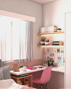 Study Room Design, Study Room Decor, Room Design Bedroom, Teen Room Decor, Room Ideas Bedroom, Home Room Design, Home Office Design, Home Office Decor, Home Decor