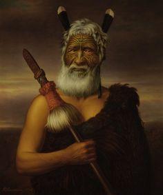 """Готфрид Lindauer, """"Eruera Maihi Patuone"""" (1874 г.), Художественная галерея Окленда Toi о Тамаки, подарок г-HE Партридж, 1915"""