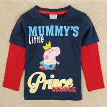peppa pig clothing baby clothes boys brand kids boy's t shirt pepa cartoon george pig boys long sleeves child t shirt A5340(China (Mainland))