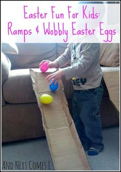 Easter activity for kids using cardboard ramps and wobbly Easter eggs from And Next Comes L