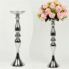 Silver Metal Candle Holders 50cm/20'' Stand Flowers Vase Candlestick As Road Lead Candelabra Centre Pieces Wedding Decoration