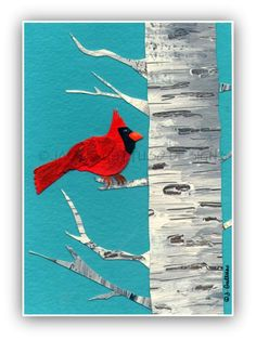 Cardinal original art, Christmas cardinal, Winter art, Birch tree, Cardinal collage, Cardinal painting, Original wall art, Holiday art. $30.00, via Etsy.