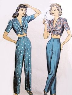 1940s RARE Crop Top and High Waist Slacks Pants Pattern DuBarry 6051 Kittenish Midriff Crop Top Blouse Front Bow Tie Slim Figure Flattering Pants WW II Era Bust 34 Vintage Sewing Pattern