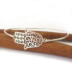 Sterling Silver Bangle Bracelet hamsa bracelet by SigalitAlcalai