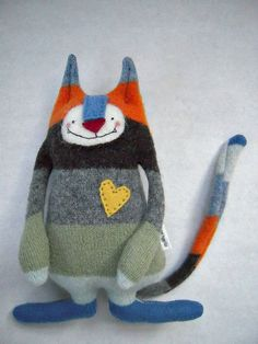 stuffed animal cat with recycled sweaters - by sweetpoppycat