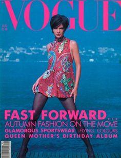 British Vogue August 1990. Photographer Sante D'Orazio, Model Helena Christensen
