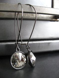 Modern Crystal Earrings with Black Gunmetal  Moonlight by ShySiren, $24.00
