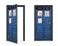 DoorWrap: Tardis Time Traveling Police Box Vinyl Sticker For Door / Bedroom  / Home Wrap