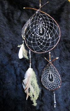 All of my dream catchers are made in the traditional style with natural materials. This dreamcatcher was made with willow branches, chrystal beads,