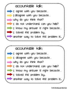 Accountable Talk for Students CCSS k 1 2