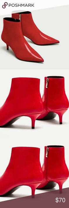 ZARA NWT RED Mid-heel Ankle Boots Size 38 ZARA NWT RED Mid-heel Ankle Boots   Kitten Heel   Side Zipper   Pointy Toe   Size 38 UK / Size 7.5 US  SOLD OUT ONLINE! Zara Shoes Ankle Boots & Booties