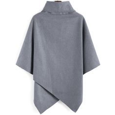 Turtleneck Woolen Asymmetrical Cape Grey Coat (1.045 RUB) ❤ liked on Polyvore featuring outerwear, coats, capes, grey, wool coat, grey turtleneck, cape coat, wool cape coat and turtleneck top