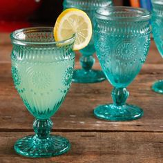 The Pioneer Woman Adeline Embossed Footed Glass Goblet - Walmart.com