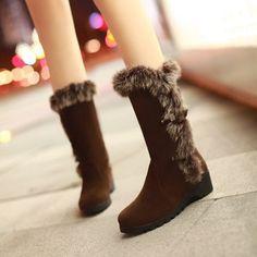 Buckle Belt Rabbit Fur Snow Boots Wedge Heel 7169