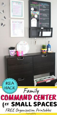 Create a Family Command Center in a Small Space Learn how to setup a simple & small family command center in your home, made with affordable Ikea I Organisation Ikea, Home Organization Hacks, Home Office Organization, Small Space Organization, Bathroom Organization, Organizing Ideas, Office Decor, Command Center Kitchen, Family Command Center