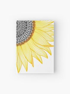 'Golden Mandala Sunflower' Hardcover Journal by paviash - Bright Mandala Sunflower Journal Doodle Art Drawing, Cool Art Drawings, Zentangle Drawings, Art Drawings Sketches, Sharpie Drawings, Easy Flower Drawings, Doodling Art, Sharpie Doodles, Unique Drawings