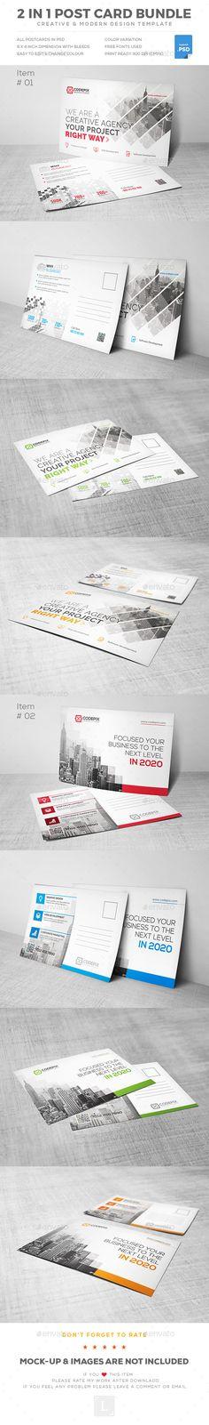 Postcard Bundle — Photoshop PSD #corporate #offline marketing • Download ➝ https://graphicriver.net/item/postcard-bundle/19261228?ref=pxcr