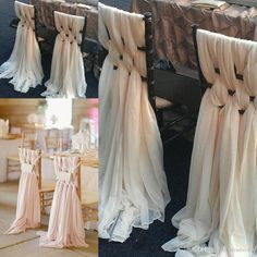 Pink Chiffon DIY Wedding Chair Covers And Sashes Knit Bridal Bouquet Party Accessories Different Color Available from DHgate.com,get worldwide delivery and buyer protection service.