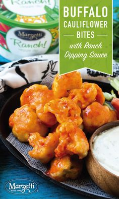 Planning your menu for the big game? Check out this easy-to-make appetizer recipe for Buffalo Cauliflower Bites with Marzetti® Ranch Veggie Dip. This game-day recipe makes for the perfect feel-good snack while getting in your veggies!