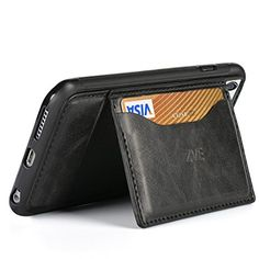 Leather wallet stand carrying case for apple iphone 6 & 6s 4.7 inch (Black)