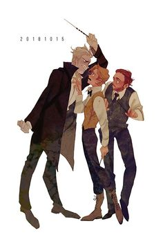 Newt being the couple's counselor between Albus and Grindelwald Harry Potter Fan Art, Harry Potter Anime, Fans D'harry Potter, Mundo Harry Potter, Harry Potter Ships, Harry Potter Drawings, Harry Potter Universal, Harry Potter Fandom, Harry Potter World