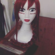 Hello! Erin here again from Animaniacs Cosplay! This is an Erza wig I've styled for fellow member Katherine :) Looks awesome doesn't it?? I tend to braid long wigs so they don't get tangled.  #wig #wigs #customwigs #anime #animecosplay #cosplayanime #fairytail #fairytailguild #erzascarlet #erza #natsudragneel #lucyheartfilia #grayfullbuster #natsu #lucy #gray