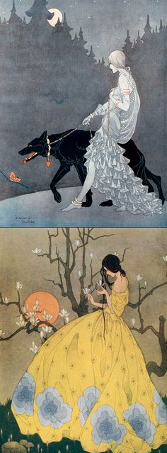 Art by Marjorie Miller, who was and illustrator in the and Miller was an illustrator of children's stories and periodicals. This illustration had a very strong Japanese influence. Kunst Inspo, Art Inspo, Fantasy Kunst, Fantasy Art, Art Nouveau, Art Manga, Art And Illustration, Illustration Children, Art Design