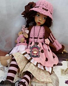 Pink & brown spring outfit + bunny for layla msd kaye wiggs dollstown by barbara