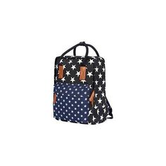 Star Print Panel Canvas Backpack Black ($35) ❤ liked on Polyvore