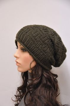 d0c4ed56f69 Hand knit hat woman man unisex Olive chunky slouchy wool hat-ready to ship