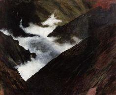 Simberg, Hugo - 1899 Mountain Stream in Caucasia (Ateneum Art Museum, Helsinki, Finland) Drawing School, Art Database, Helsinki, Finland, Art Museum, Landscape Paintings, Oil On Canvas, Art Gallery, Mountain