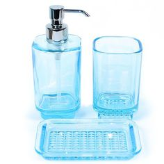 GEDY BY NAMEEKS Joy 3 Piece Glass Bathroom Accessory Set Sky Blue $89.95 FREE SHPG OR PICK UP AVAILABLE - ROSSI HOME GOODS LOCATED IN NJ & CA - SHOP HERE: bonanza.com/rossico
