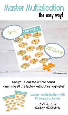 Kids master multiplication facts the easy and fun way when they practice with Multiplication Don't Eat Pete! Learning Multiplication Facts, Math Facts, Math Fact Practice, Math Help, Practical Parenting, Parenting Tips, Printable Board Games, Daily Math, Math Practices