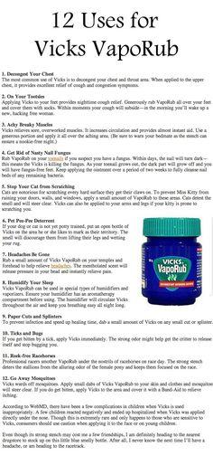 12 Uses for Vick VapoRub  Who knew these.   Great tips Vic Vaporub, Vicks Vaporub Uses, Cold Remedies, Natural Home Remedies, Health Remedies, Natural Healing, Herbal Remedies, Psoriasis Remedies, Holistic Healing