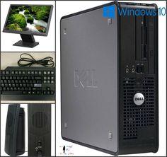 """Dell Optiplex Desktop Win 10 Dual Core 4GB 250GB HD Windows 10 Computer 19"""" LCD #Dell"""