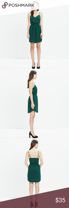 """Madewell Wrap-front Cami Dress Bowling Green Bold green Madewell dress with front pockets! A sleek, leg-flaunting, cami-style dress in an unexpected jeweled green shade. Throw on a leather jacket and booties for a laid-back vibe or pop on open-toe heels for an instant party look. Falls 30 3/8"""" from shoulder. Dress snaps at the bust to keep the v neckline from being too open. Imperfections as shown in the last two pictures. Size 2. Madewell Dresses Mini"""