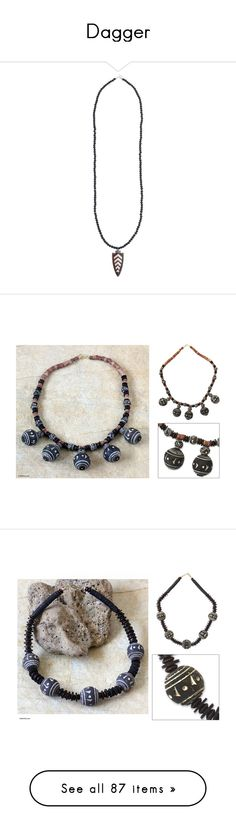 """""""Dagger"""" by theprincesscharming ❤ liked on Polyvore featuring jewelry, necklaces, matte black, africa pendant necklace, chain necklace, black pendant necklace, black diamond jewelry, black pendant, bauxite and beaded"""