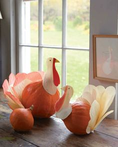 Like a 3-D version of the classic handprint turkey, these charming birds are great to make with the kids. The fat tear shape of a Hubbard squash perfectly mimics a turkey's body (but any squash or gourd with a similar profile will work); just add a cornhusk head and tail feathers.