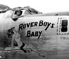 """B-24 Liberator """"Rover Boys Baby"""" nose art"""
