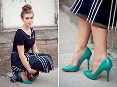 Love this girls style - green shoes <3