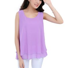 Summer Style Blouse Women Tops Two Layers Chiffon Female Vest Spaghetti Loose Shirts Casual Solid Blouse Plus Size Clothing S139