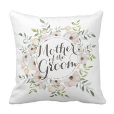 Mother of the Groom Watercolor Throw Pillow - home gifts ideas decor special unique custom individual customized individualized
