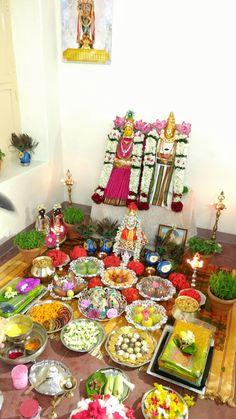 Goddess decoration Diwali Decorations, Indian Wedding Decorations, Festival Decorations, Flower Decorations, Laddu Gopal Dresses, Silver Pooja Items, Ganapati Decoration, Indian Rangoli, Flower Rangoli