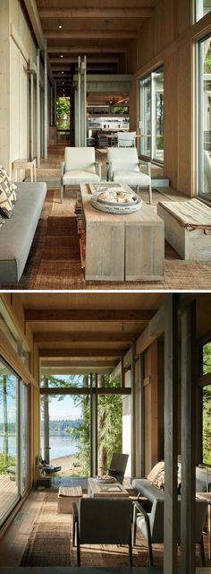 Inside the cabin, readily available materials, like plywood or recycled boards, have been used for the walls. The furnishings and decor have a simple natural palette, with plenty of neutral tones and textures.