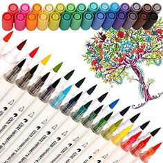 Buy 28 Color Dual Tip Watercolor Brush Markers - Pandafly Non-Toxic Water Based Lettering Marker Calligraphy Pens for Adults&Kids Coloring Book, Sketching, Drawing, Bullet Journal, 28 Assorted Colors at Wish - Shopping Made Fun Coloring For Kids, Coloring Books, Adult Coloring, Calligraphy Markers, Bullet Journal Font, Journal Fonts, Brush Pen Art, Chalkboard Lettering, Hand Lettering Tutorial