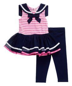 Look at this #zulilyfind! Navy & Pink Sailor Dress & Leggings - Infant, Toddler & Girls #zulilyfinds