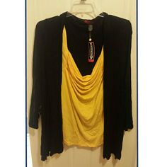 NOW ONLY $8!! Dress shirt cardigan. One piece NWT Cute one piece yellow shirt/black cardigan. New with tags and never worn. Size is 1X but it is VERY stretchy. It was too big for me and I lost the receipt. Perfect for work or a fun night out! Make me an offer! Xoxo  Everything in my closet will be shipped from a smoke free and pet free environment knitway Tops